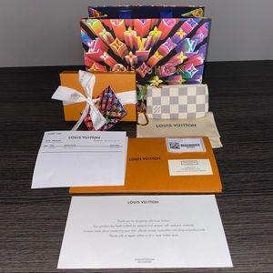 New Auth Louis Vuitton Key Pouch Cles Damier Azur